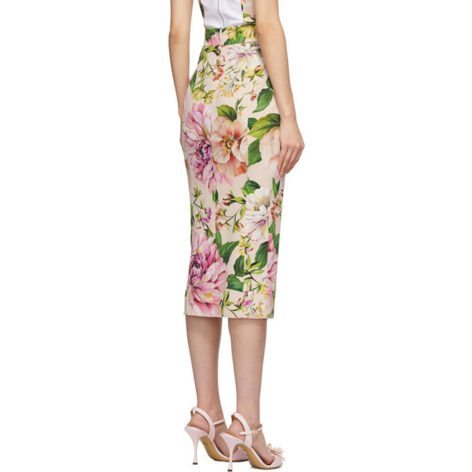 Dolce and Gabbana Pink Crepe Floral Skirt
