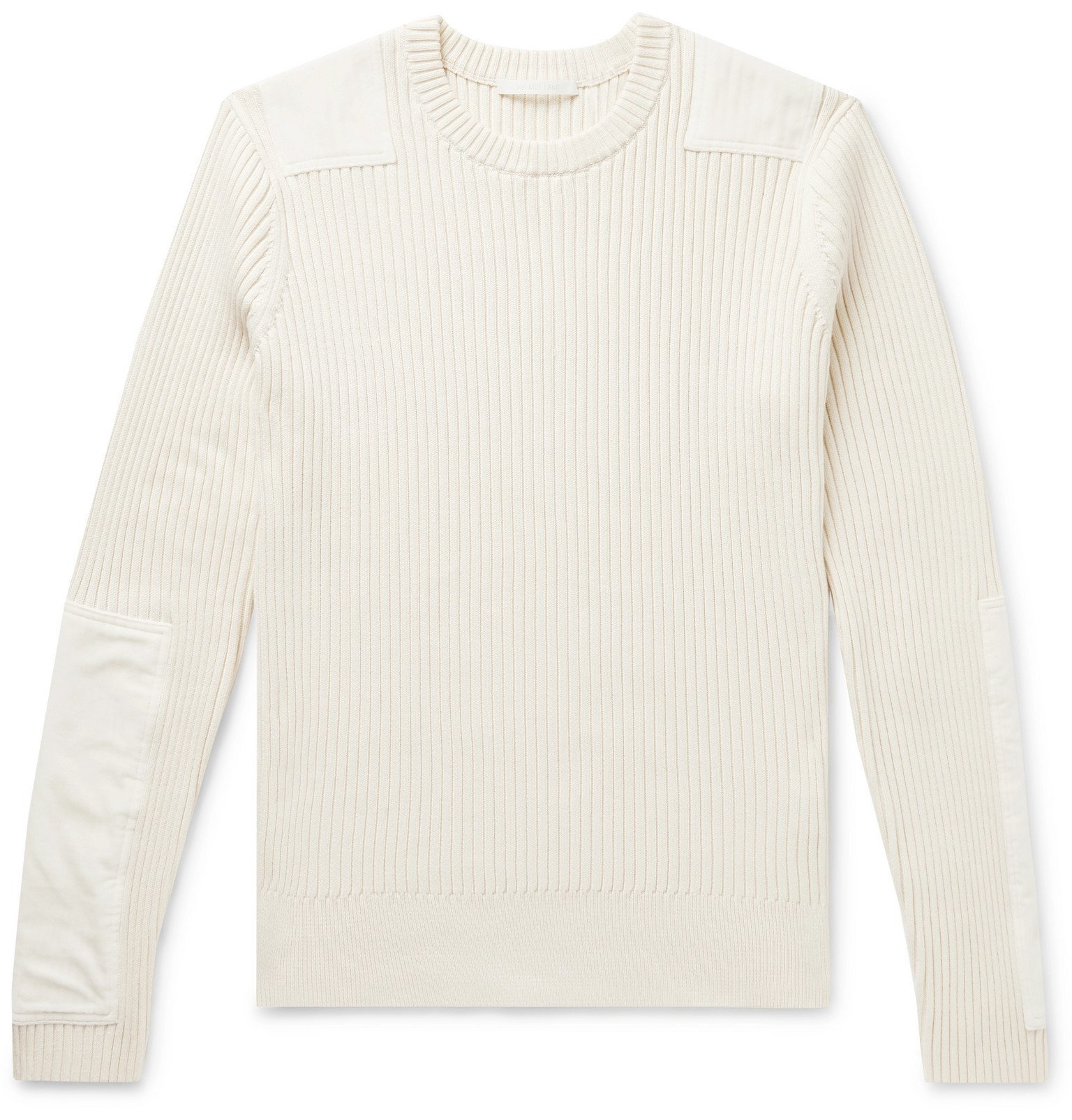 Photo: Helmut Lang - Velvet-Panelled Ribbed Cotton and Cashmere-Blend Sweater - Neutrals