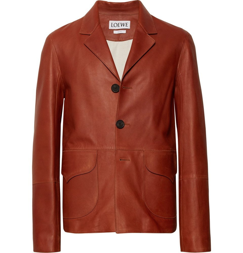 Photo: Loewe - Leather Jacket - Brown