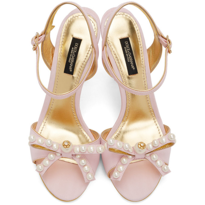 Dolce and Gabbana Pink Bow Tie Strap Heeled Sandals
