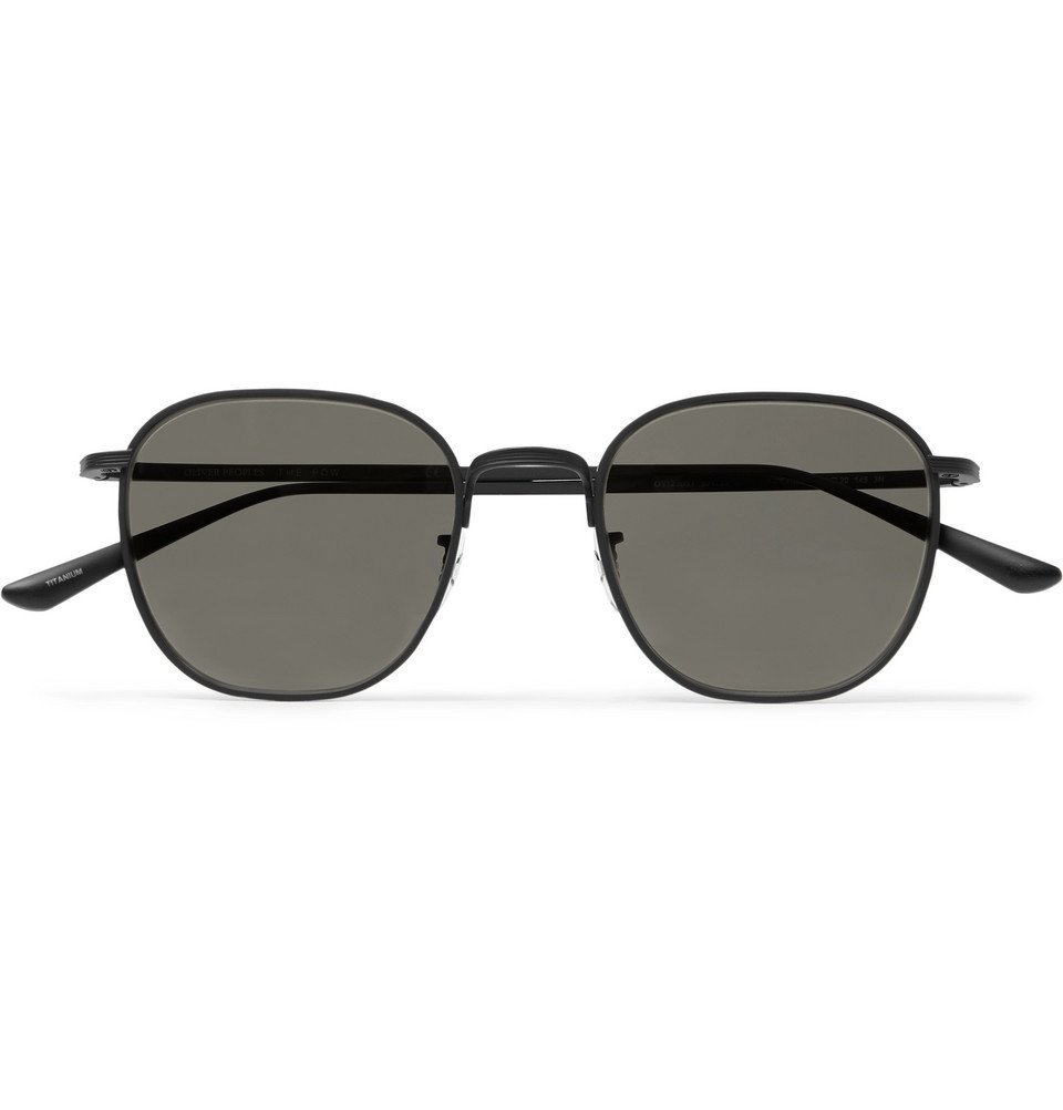 Photo: The Row - Oliver Peoples Board Meeting 2 Square-Frame Titanium Mirrored Sunglasses - Black