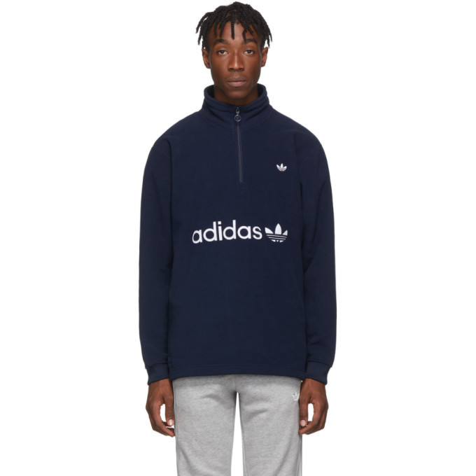 Photo: adidas Originals Indigo Logo Zip-Up Sweater
