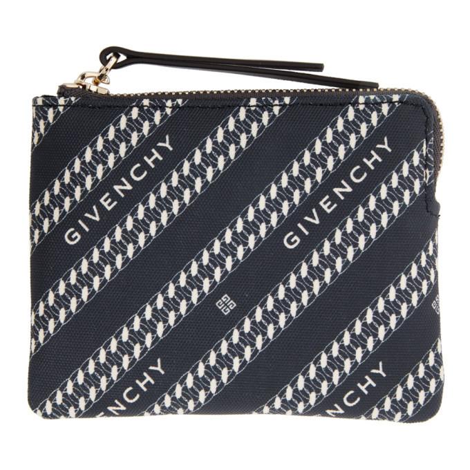 Photo: Givenchy Navy Diagonal Logo Zip Wallet