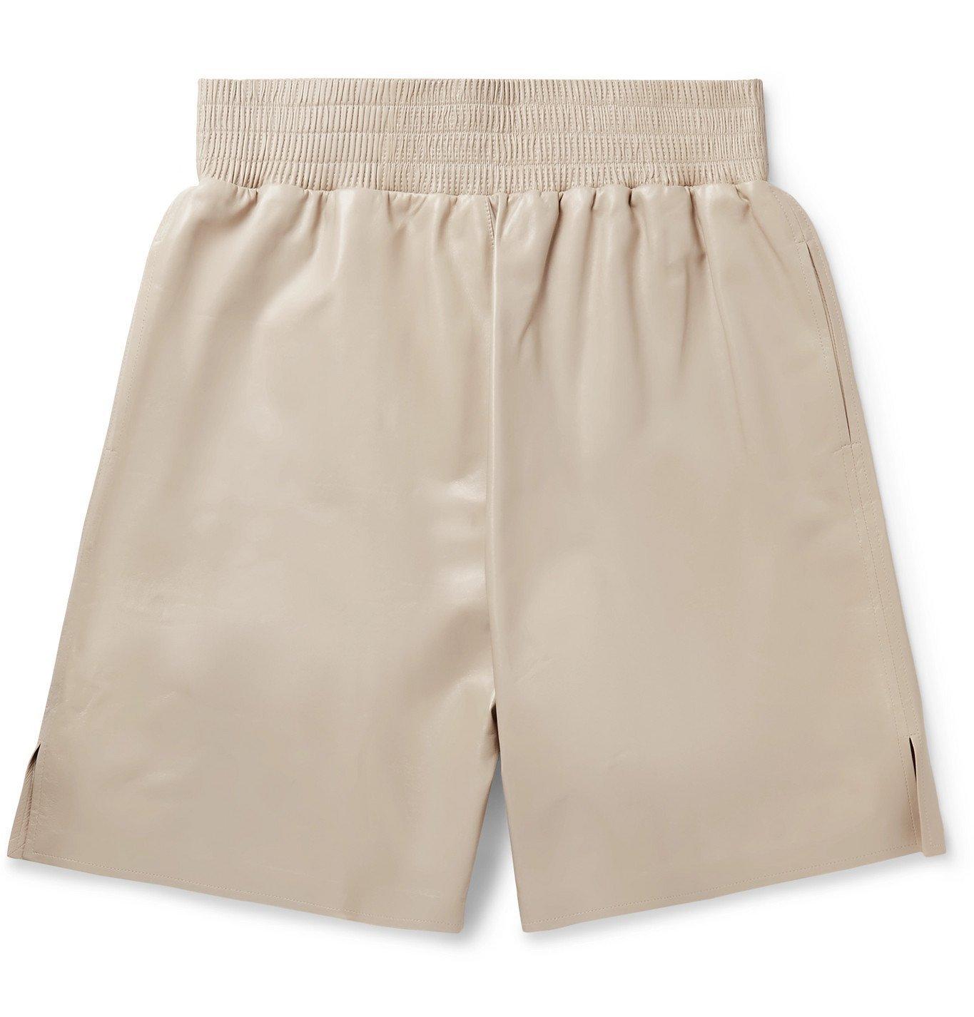 Photo: Bottega Veneta - Wide-Leg Leather Bermuda Shorts - Neutrals