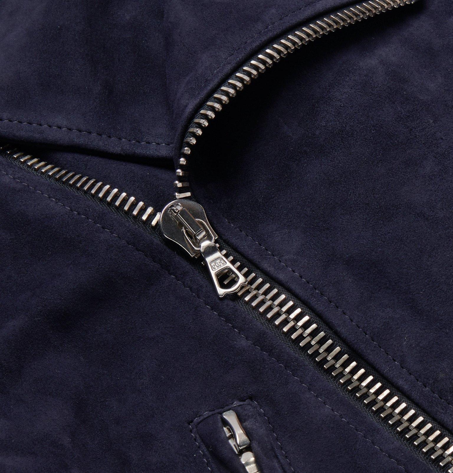 Officine Generale - Dylan Suede Biker Jacket - Blue