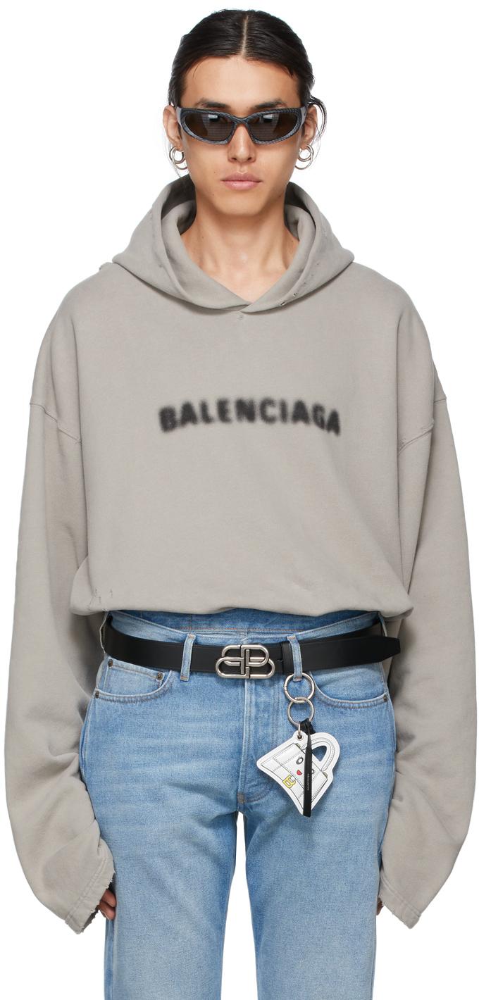 Photo: Balenciaga Grey Blurry Logo Hoodie