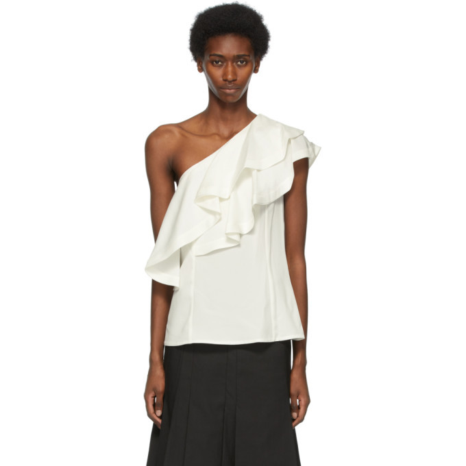 Photo: 3.1 Phillip Lim Off-White Ruffled One Shoulder Blouse