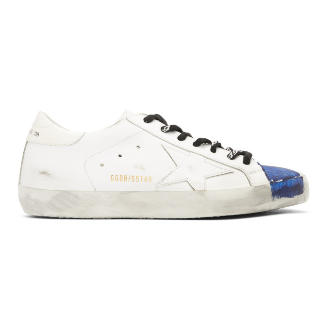 Photo: Golden Goose White and Blue Stripe Superstar Sneakers