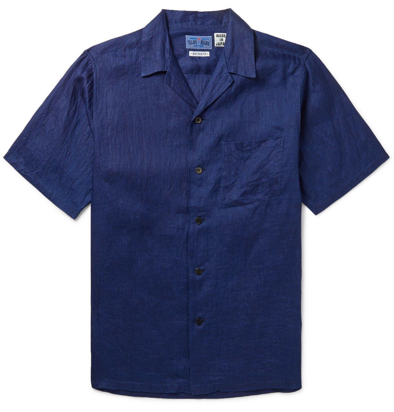 Photo: Blue Blue Japan - Camp-Collar Indigo-Dyed Linen Shirt - Blue