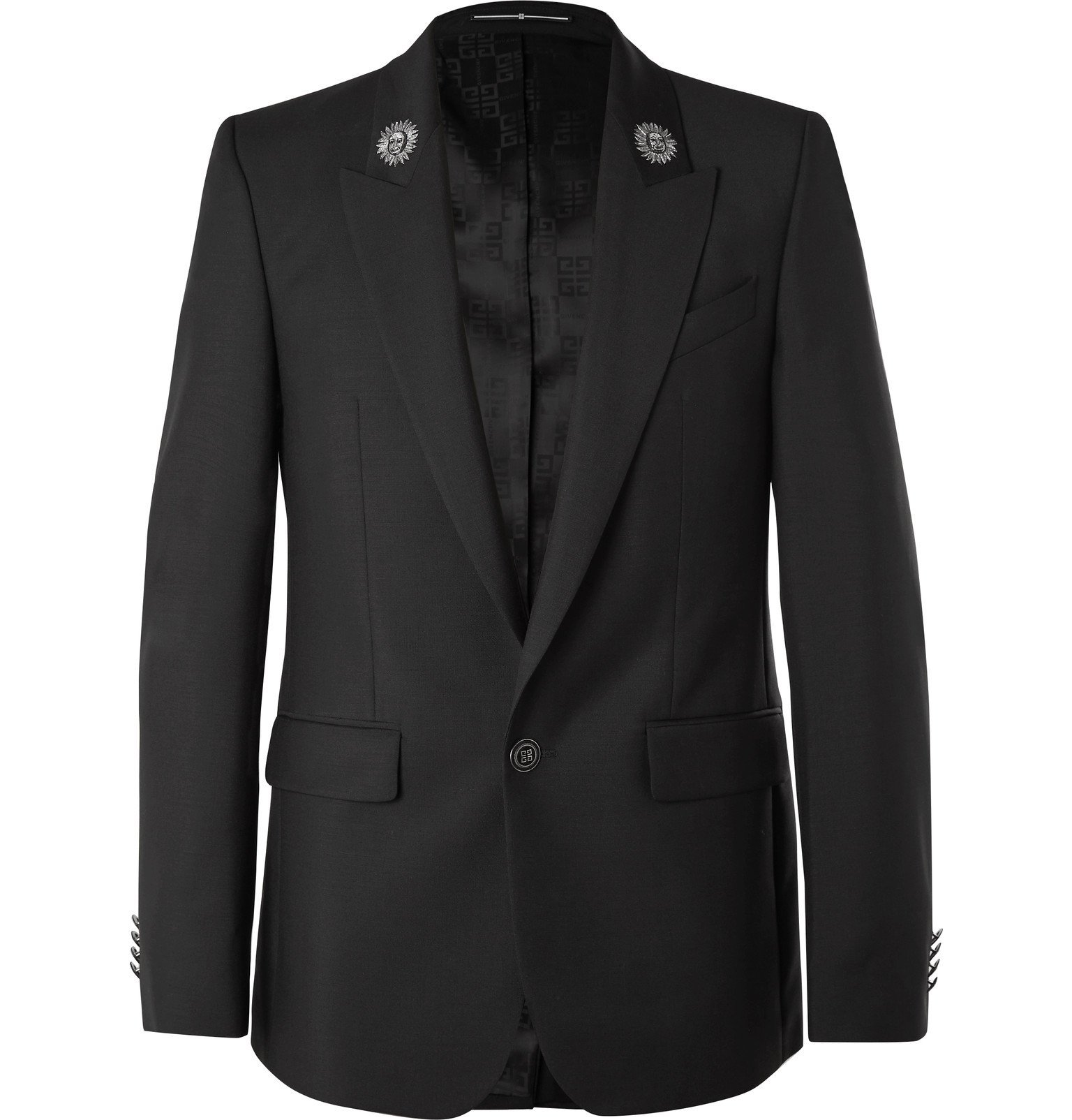 Photo: Givenchy - Black Slim-Fit Embroidered Wool and Mohair-Blend Blazer - Black