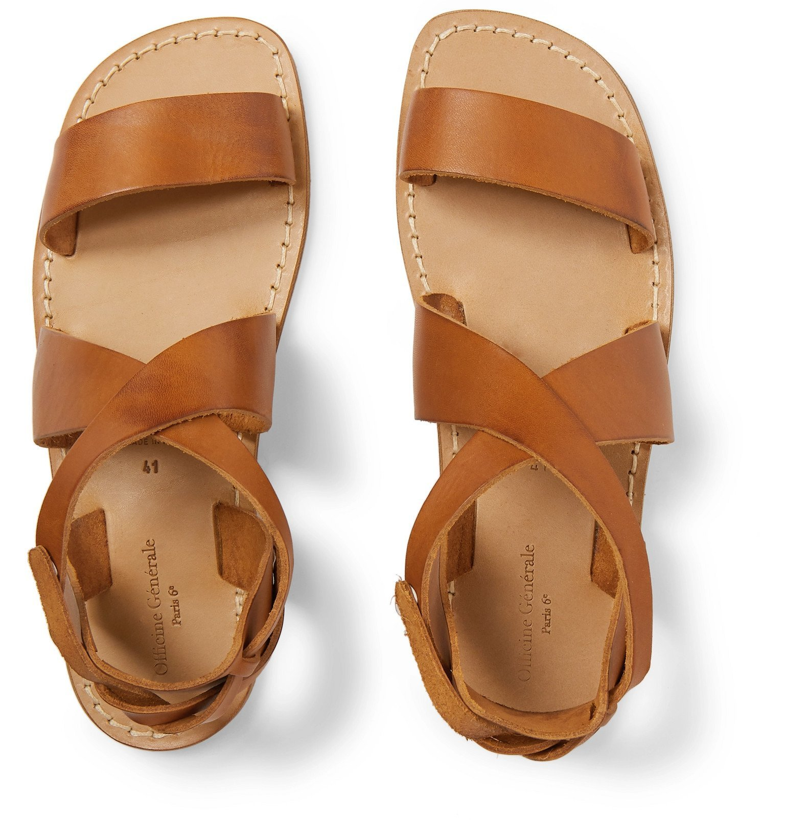 Officine Generale - Positano Leather Sandals - Brown