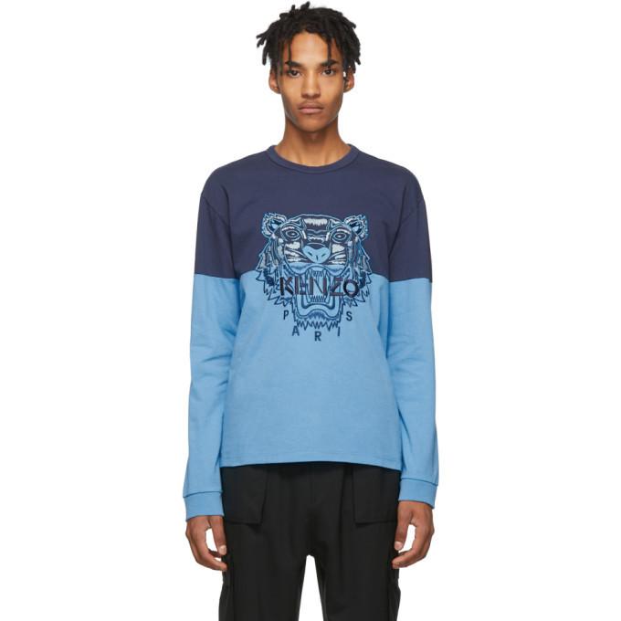 Photo: Kenzo Blue Colorblock Tiger Sweatshirt