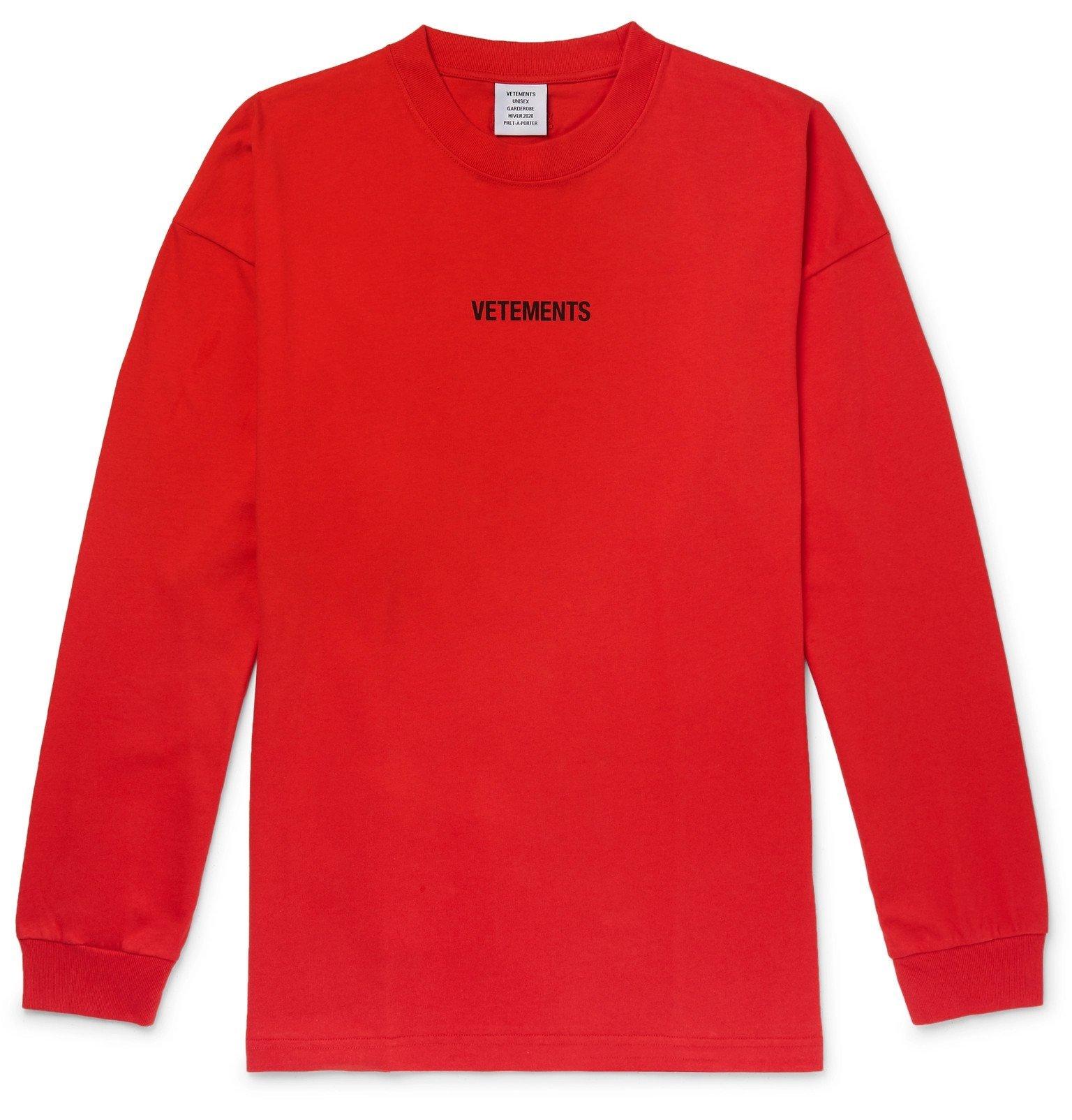 Photo: Vetements - Oversized Logo-Print Cotton-Jersey T-Shirt - Red