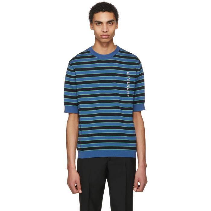Photo: Givenchy Blue Short Sleeve Striped Logo Sweater
