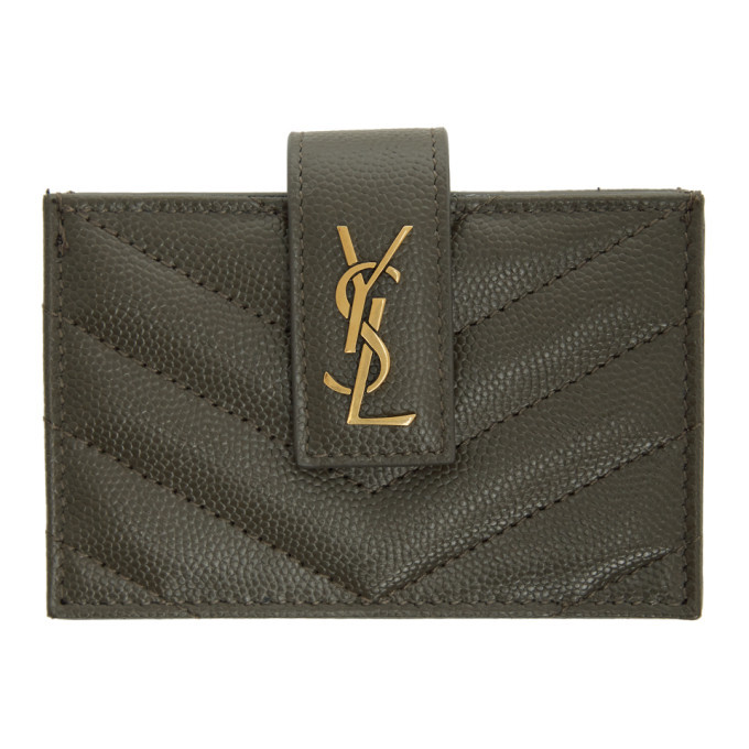 Photo: Saint Laurent Grey Monogramme Card Holder