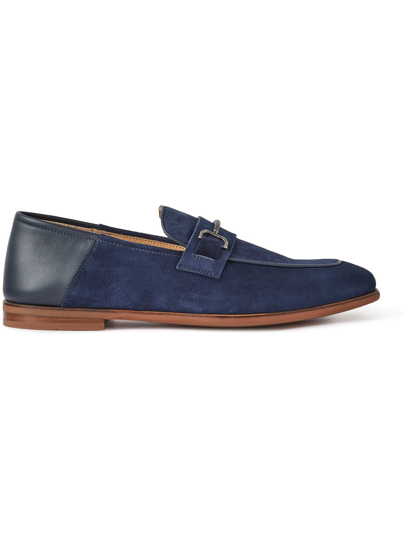DUNHILL - Chiltern Suede and Leather Loafers - Blue