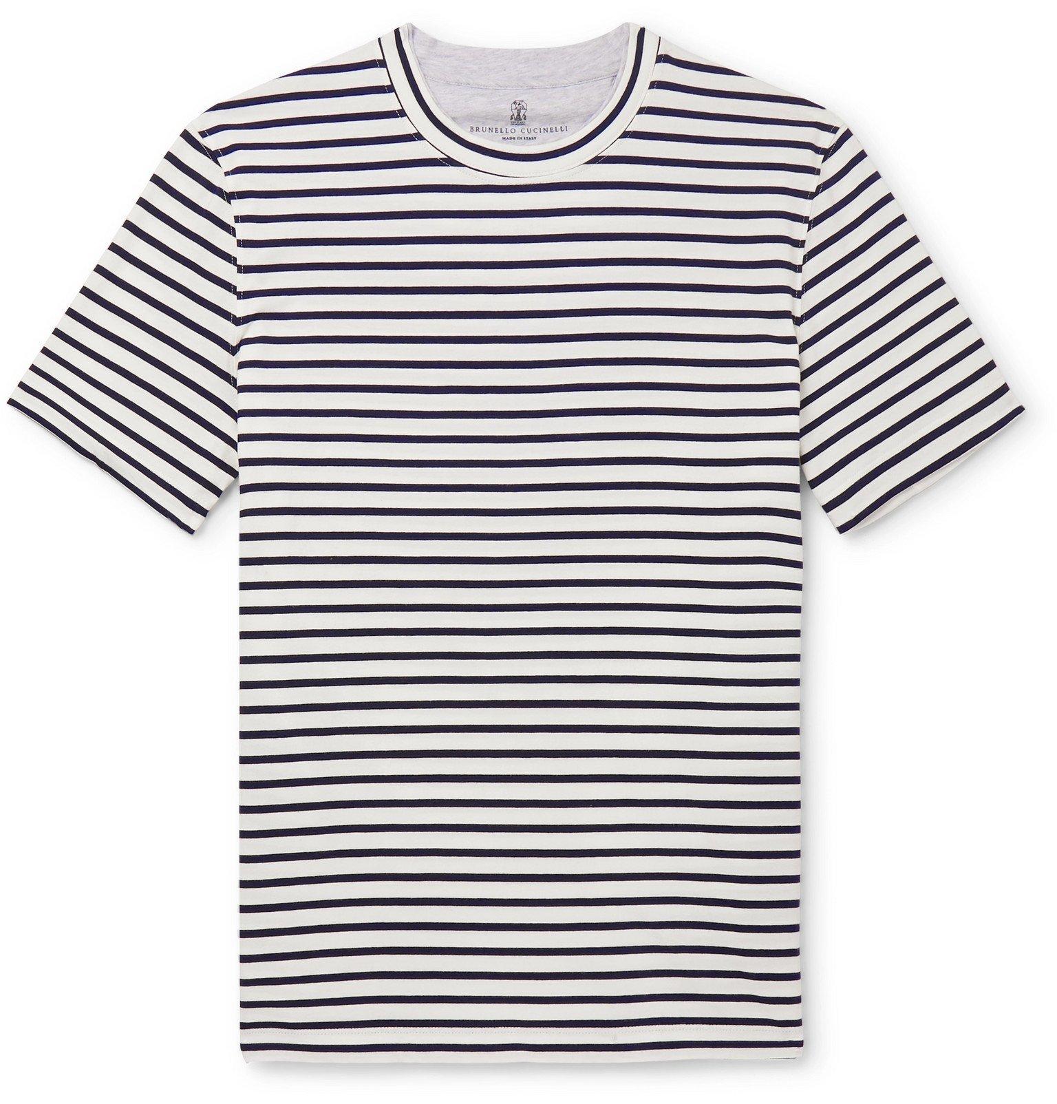 Photo: Brunello Cucinelli - Striped Cotton-Jersey T-Shirt - Blue