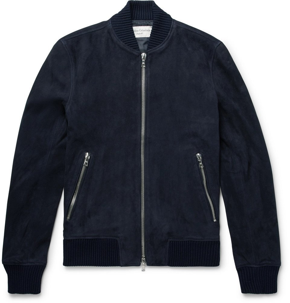 Photo: Officine Generale - Slim-Fit Suede Bomber Jacket - Midnight blue