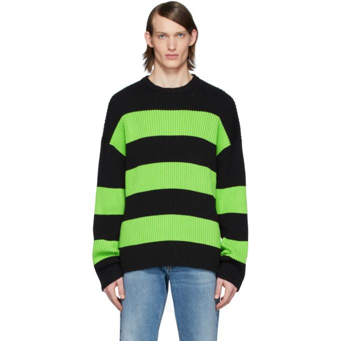 Photo: Balenciaga Black and Green Stripe Crewneck Sweater