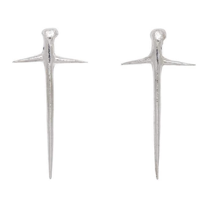 Photo: Pearls Before Swine Silver Small Thorn Cross Earrings