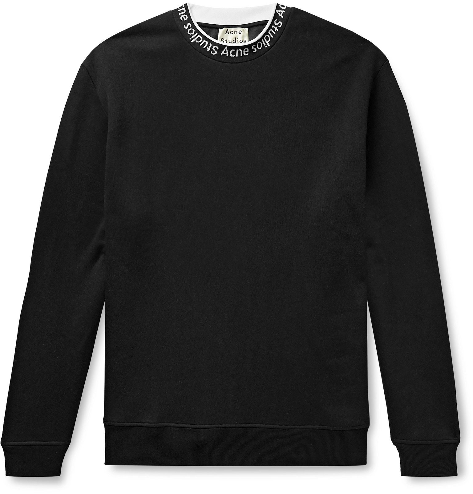 Photo: Acne Studios - Fulton Logo-Jacquard Fleece-Back Jersey Sweatshirt - Black