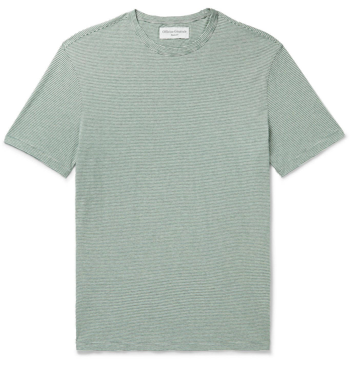 Photo: Officine Generale - Striped Cotton-Jersey T-Shirt - Green