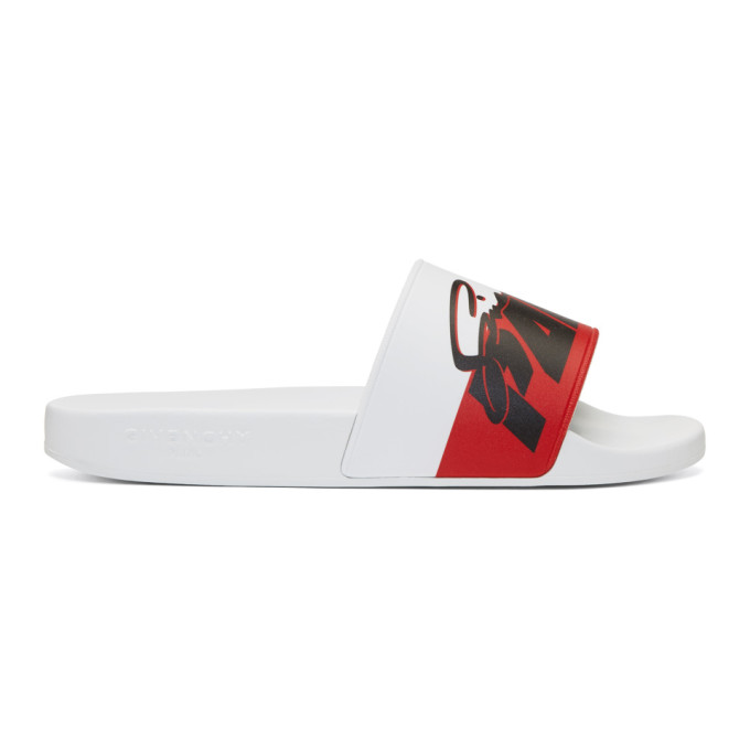 Photo: Givenchy White Motorcross Print Slides