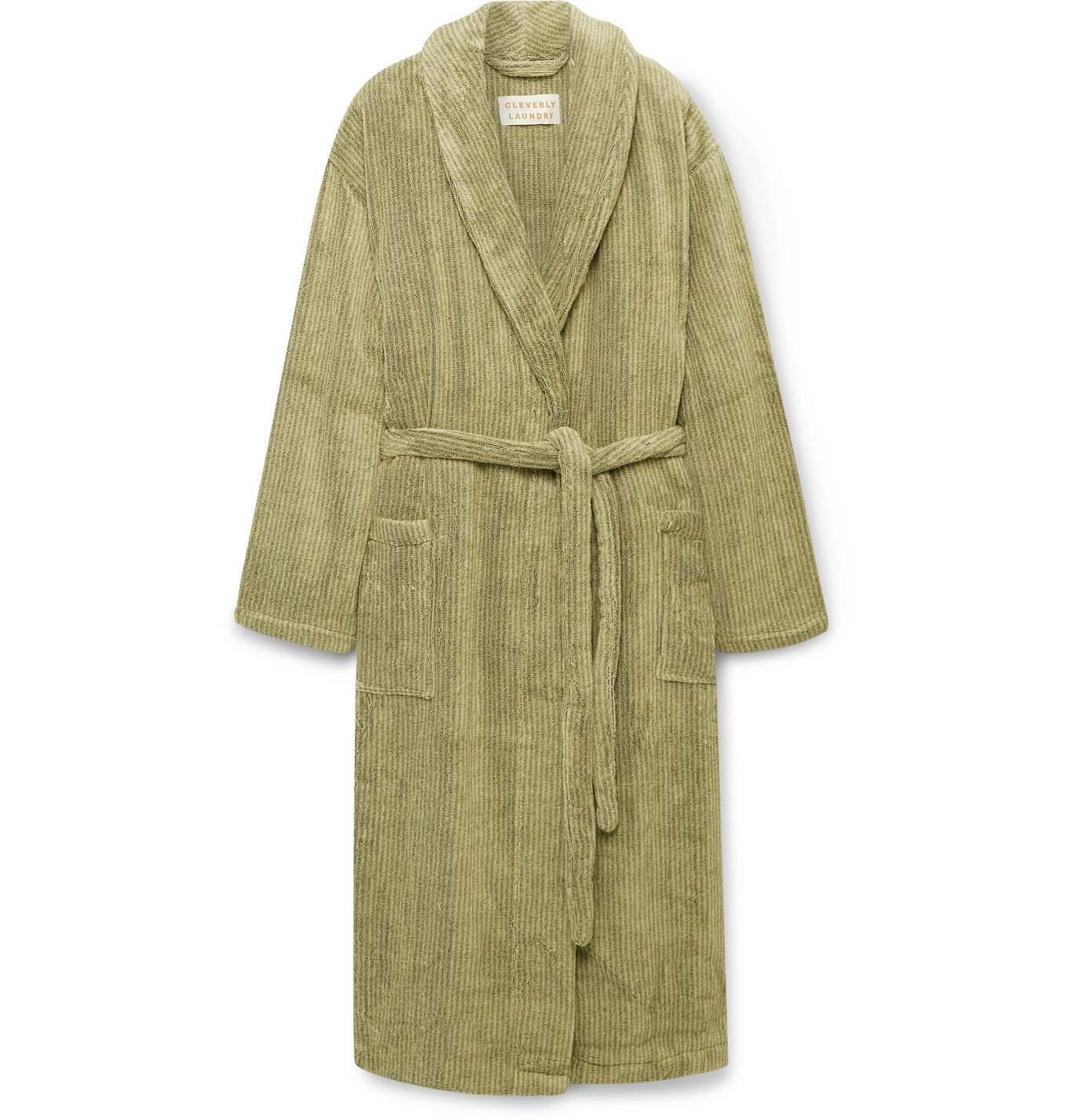 Cleverly Laundry - Striped Cotton-Terry Robe - Green