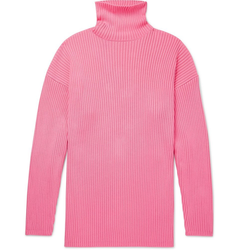 Photo: Balenciaga - Oversized Ribbed Logo-Print Cotton Rollneck Sweater - Pink