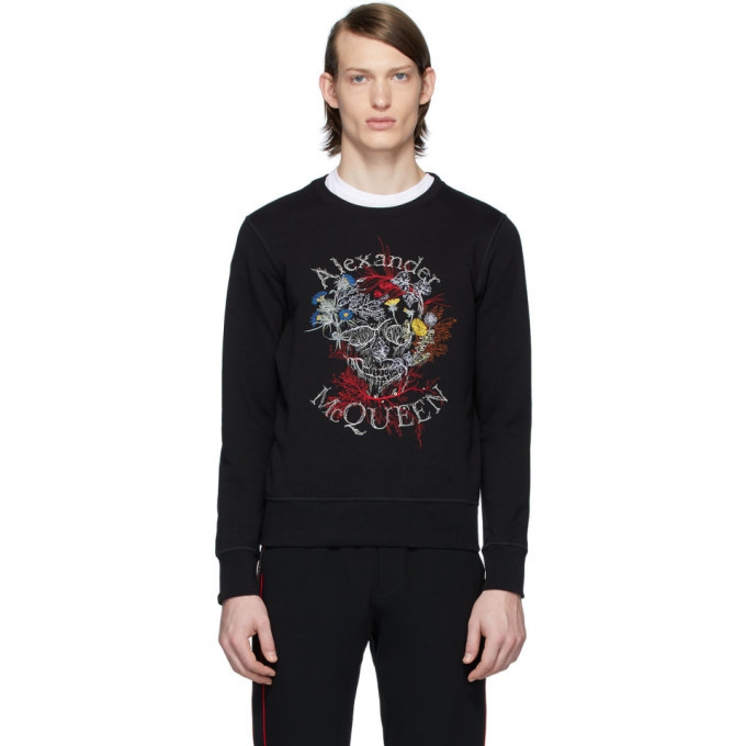 Photo: Alexander McQueen Black Glowing Botanical Skull Sweatshirt