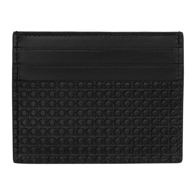 Photo: Salvatore Ferragamo Black Mini Gianco Card Holder