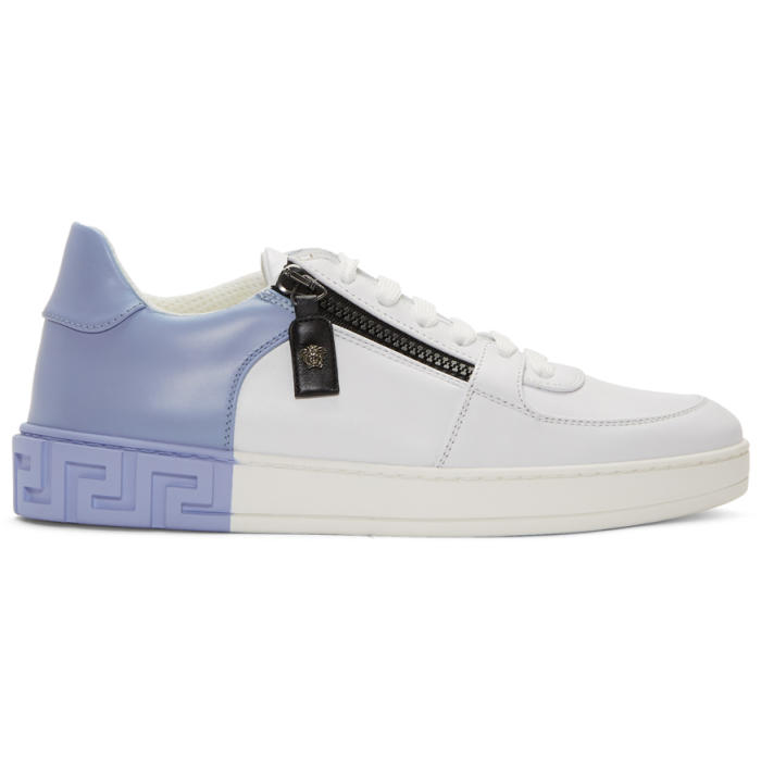 Photo: Versace White and Blue Greek Sneakers