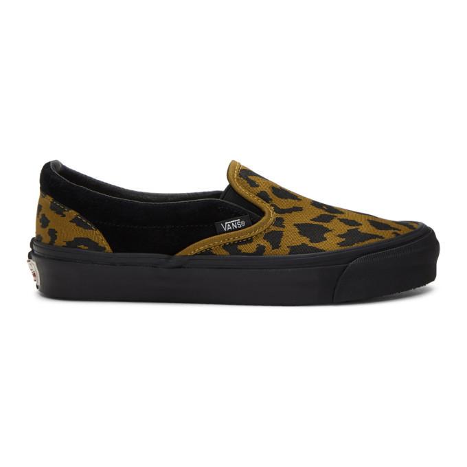 Photo: Vans Black and Brown Leopard OG Classic Slip-On Sneakers