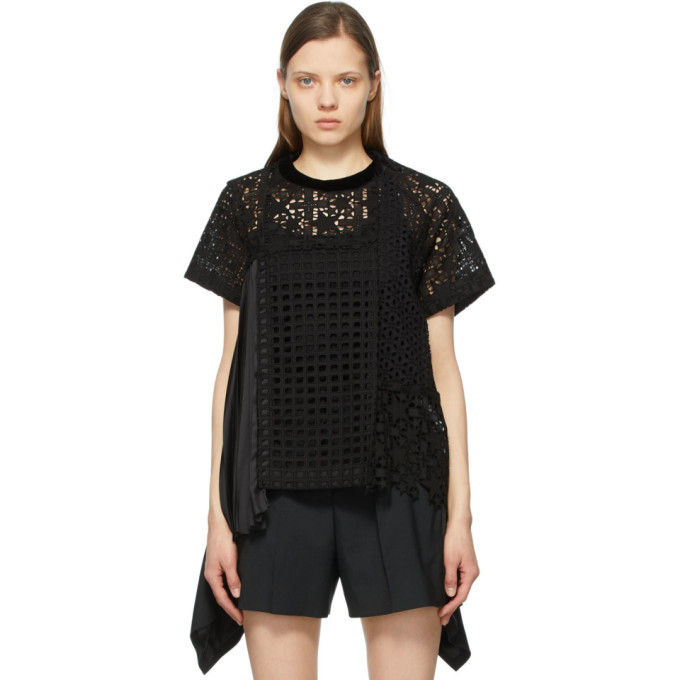 Sacai Black Star Embroidered Side Pleat T-Shirt