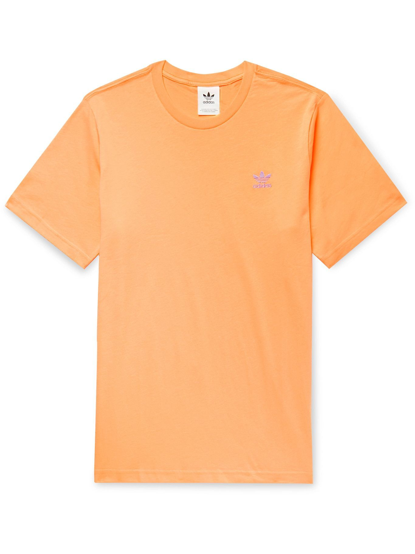 Photo: ADIDAS ORIGINALS - Adicolor Essentials Logo-Embroidered Cotton-Jersey T-Shirt - Orange