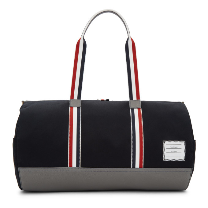 Thom Browne - Full-Grain Leather and Webbing-Trimmed Twill Duffle ... d48a0d9fed4e5