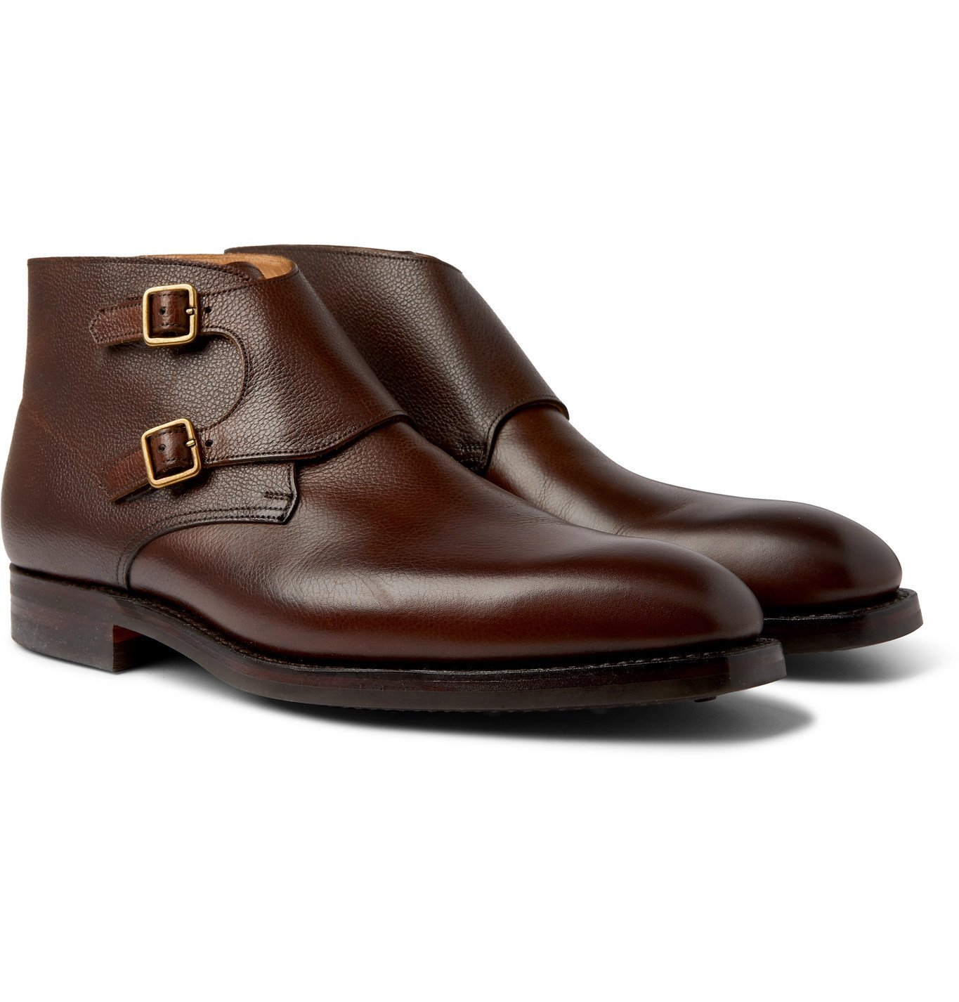 Photo: George Cleverley - Fry Pebble-Grain Leather Monk-Strap Boots - Brown
