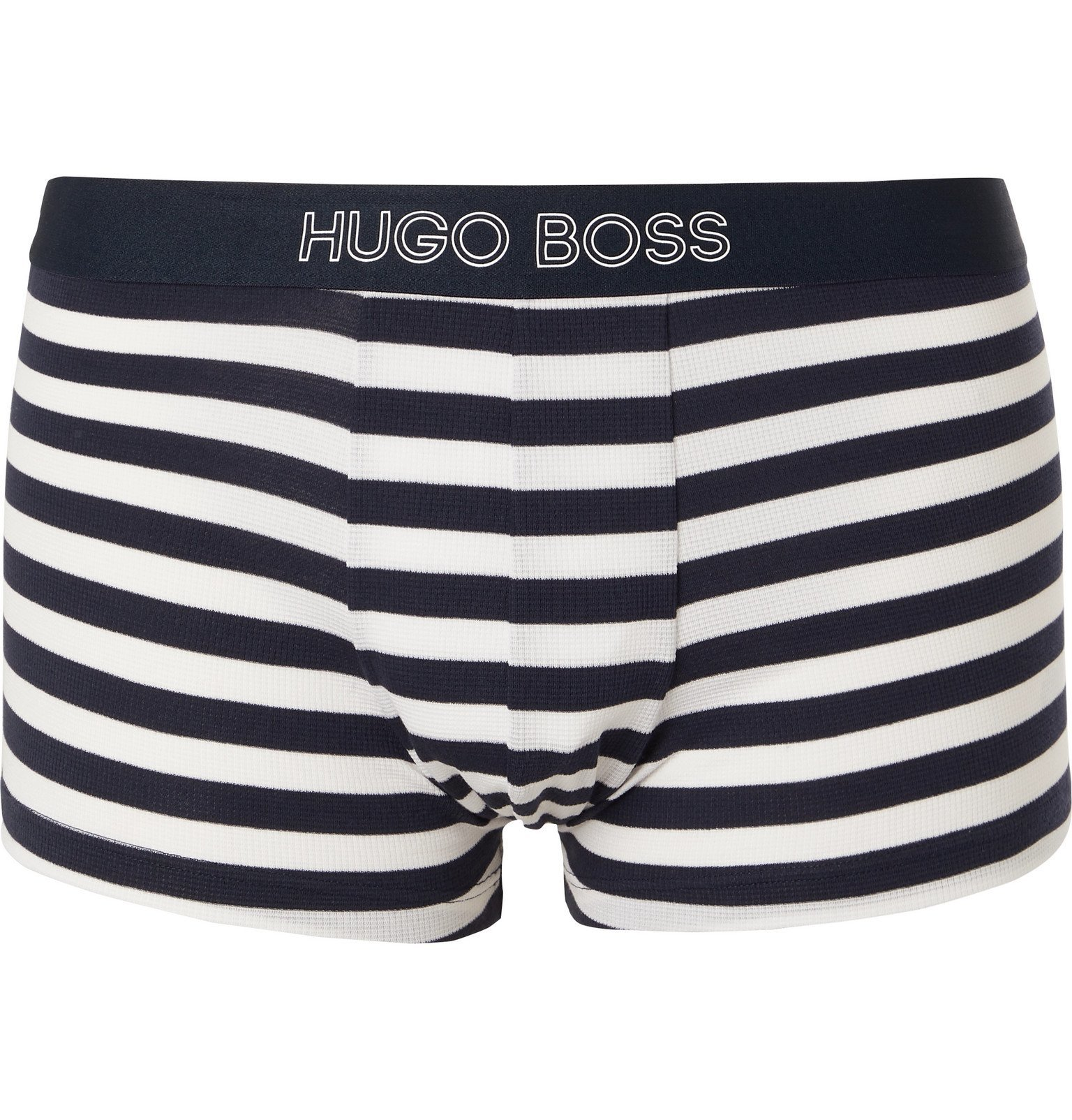 Photo: Hugo Boss - Textured Striped Stretch Modal and Cotton-Blend Boxer Briefs - Blue