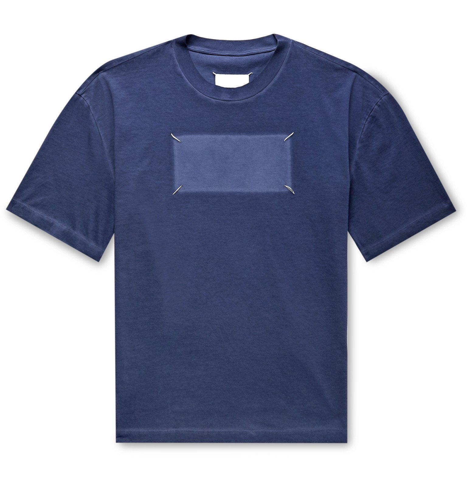 Photo: Maison Margiela - Stitched Cotton-Jersey T-Shirt - Blue
