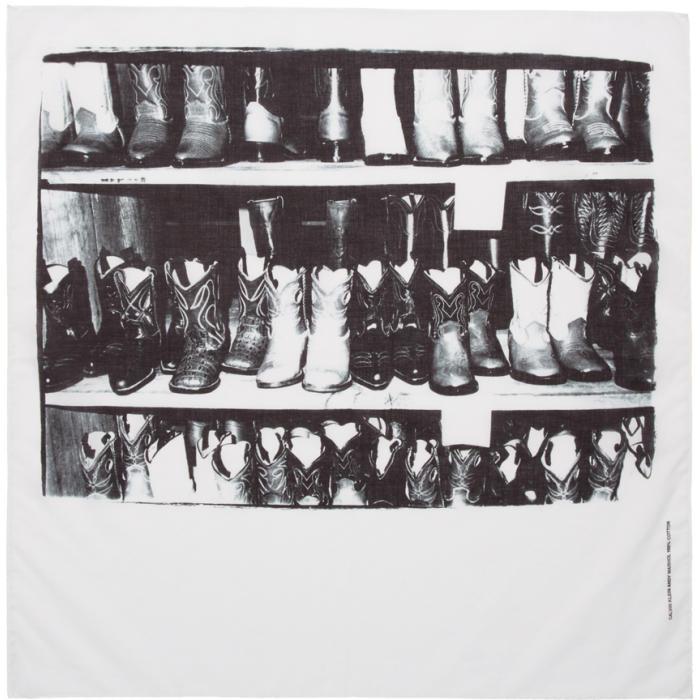 Photo: Calvin Klein 205W39NYC White Boot Print Bandana Scarf