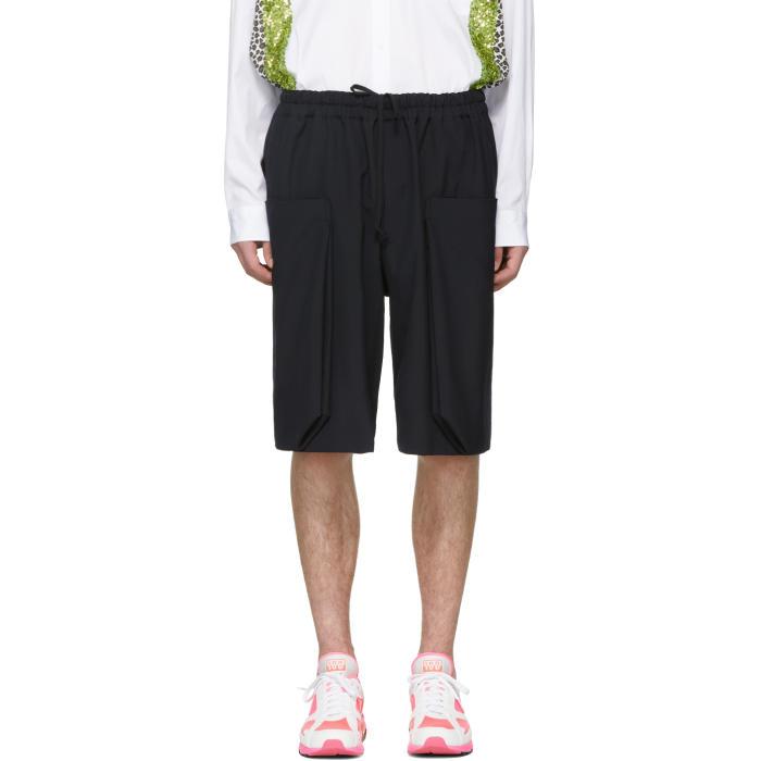 Photo: Comme des Garçons Homme Plus Navy Wool Layered Pockets Shorts