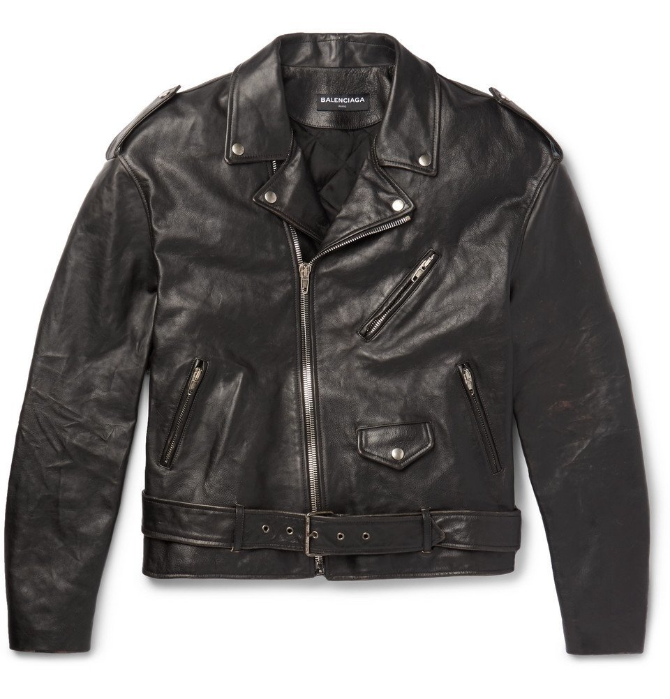 Photo: Balenciaga - Embellished Leather Biker Jacket - Men - Black