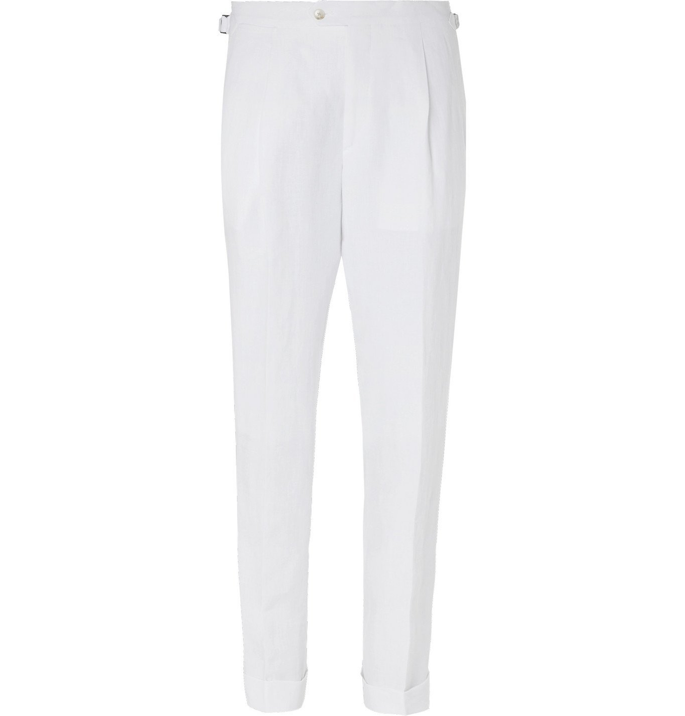 Saman Amel - Tapered Pleated Linen Trousers - White