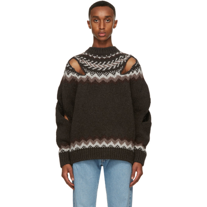 Photo: Stefan Cooke Brown and Off-White Wool Slashed Sweater