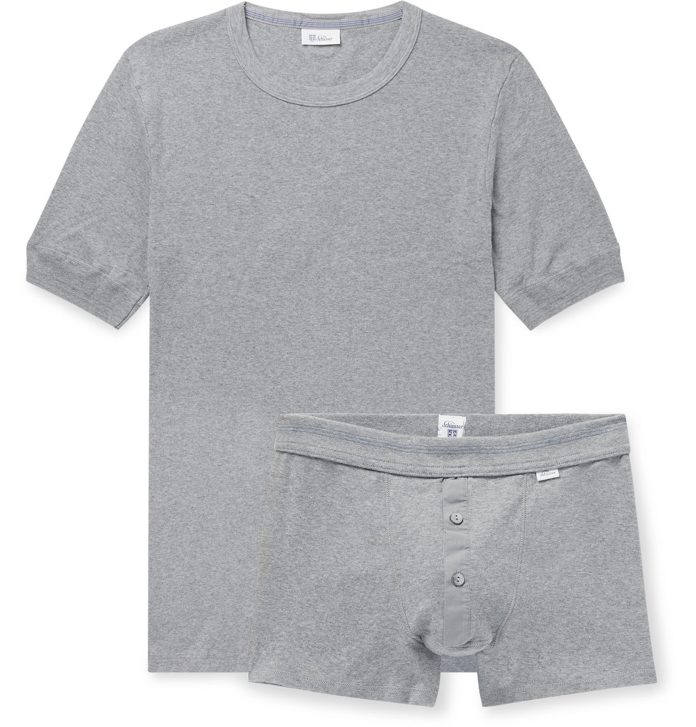 Photo: SCHIESSER - Karl Heinz Cotton-Jersey T-Shirt and Boxer Briefs Set - Gray