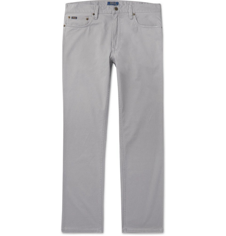 Photo: Polo Ralph Lauren - Slim-Fit Stretch Cotton-Twill Chinos - Light gray