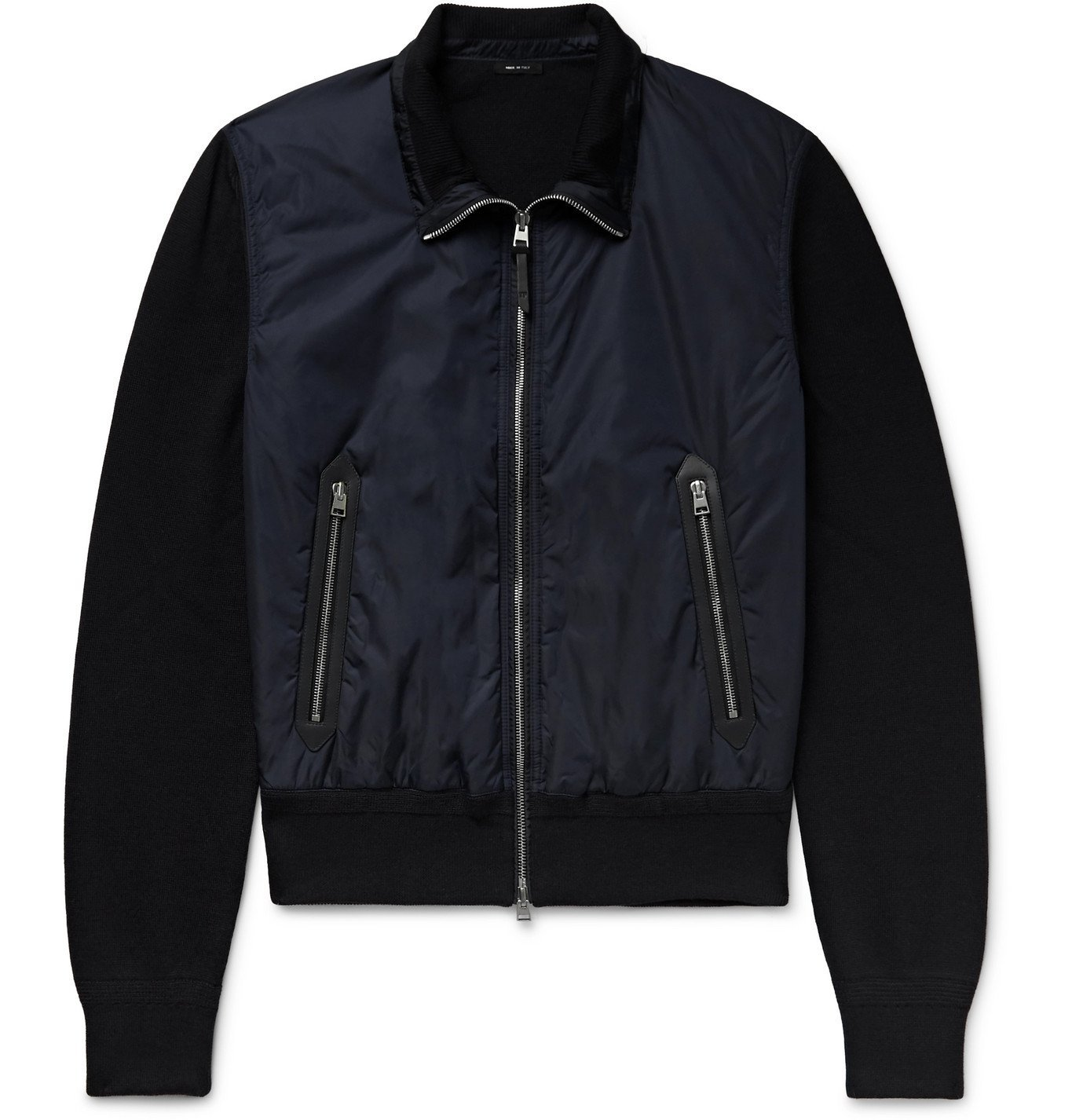 Photo: TOM FORD - Leather-Trimmed Wool and Nylon Jacket - Blue
