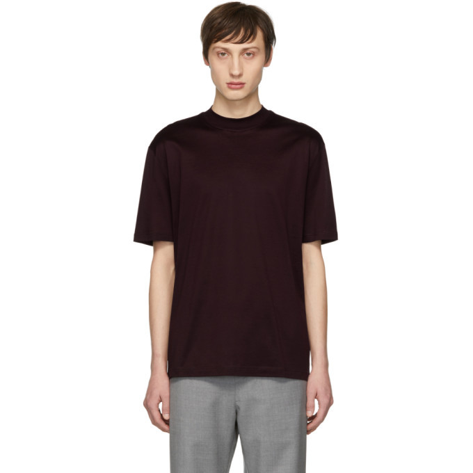 Photo: Lanvin Burgundy High Collar T-Shirt