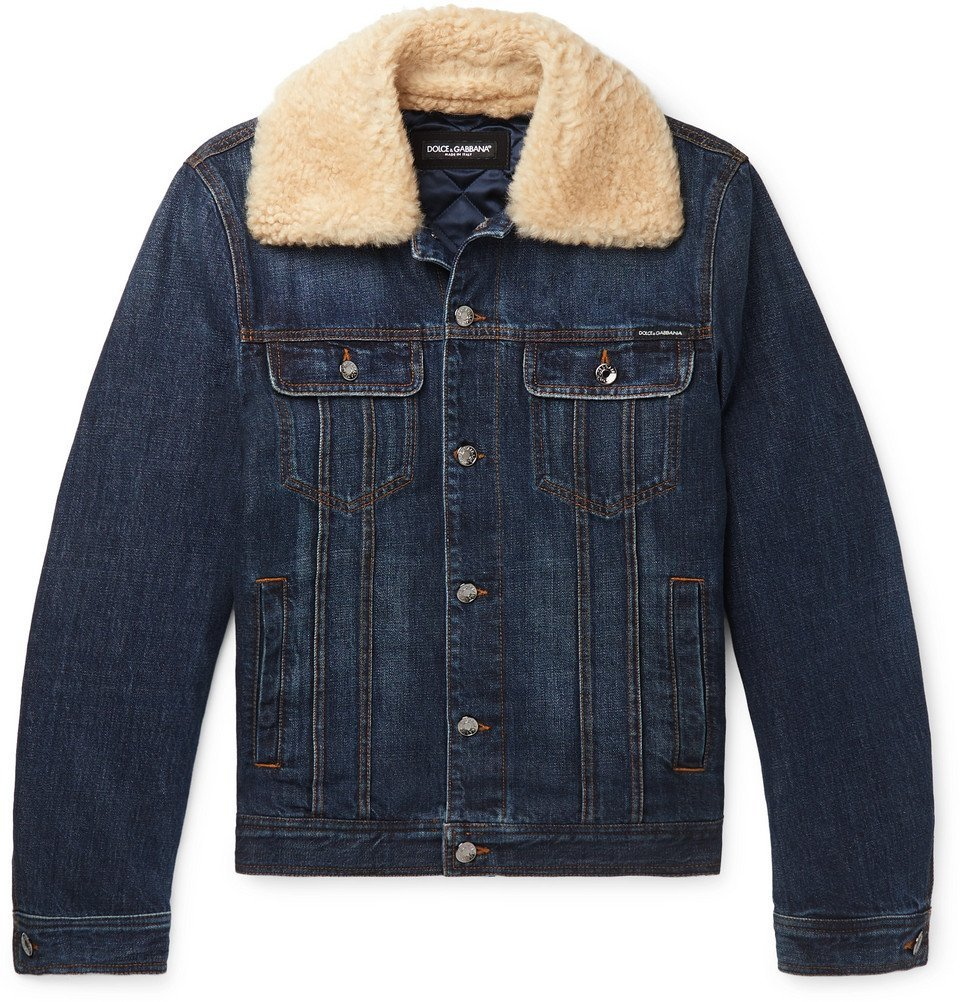 Photo: Dolce & Gabbana - Slim-Fit Shearling-Trimmed Denim Trucker Jacket - Dark denim