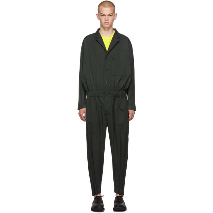 Photo: Issey Miyake Men Green Wool Wrinkle Jumpsuit